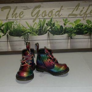 Doc Martens ombré rainbow infant boots